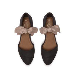 Toms Jutti D' Orsay Black Leather Bow (Size 8) NIB